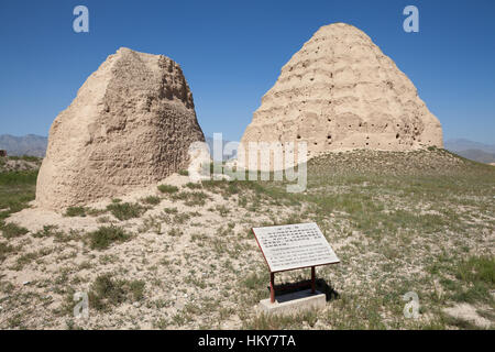 Tomb Tower in the Central Platform, Western Xia Imperial Tombs. Yinchuan, Ningxia, China - Stock Photo