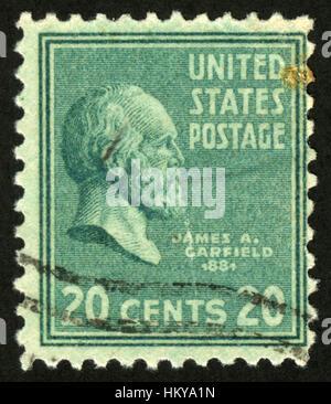 US ,circa 1938,postage stamp, James Abram Garfield, 20th US President (March - September 1881) - Stock Photo