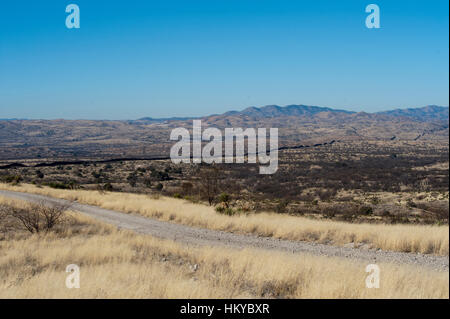 Plains before the center of the world mountain of the Tohono Oodham Indian Nation with a Lone Saguaro cactus in - Stock Photo