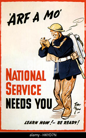 BERT THOMAS (1883-1966) Welsh artist and political cartoonist. National Service poster from 1939. - Stock Photo