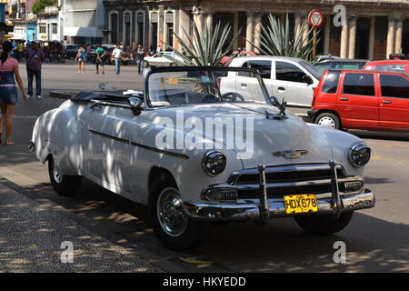 Classic American convertible car, used as a taxi in Havana, Cuba - Stock Photo