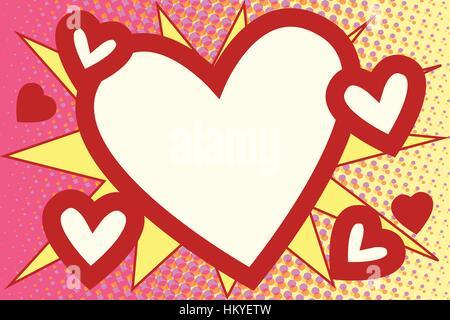 Red heart Valentines pop art background - Stock Photo