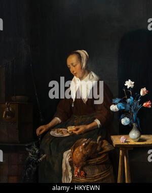 Woman Eating, The Cat's Breakfast, by Gabriel Metsu, circa 1661-64, oil on panel, Rijksmuseum, Amsterdam, Netherlands, - Stock Photo
