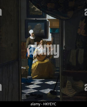 The Love Letter, by Johannes Vermeer, circa 1669-70, oil on canvas, Rijksmuseum, Amsterdam, Netherlands, Europe, - Stock Photo