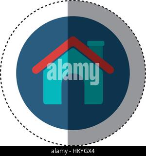 colorful sticker circular border with roof house and chimney vector illustration - Stock Photo