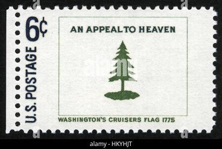 US,circa 1968, postage stamp, Washington s cruisers flag 1775 - Stock Photo