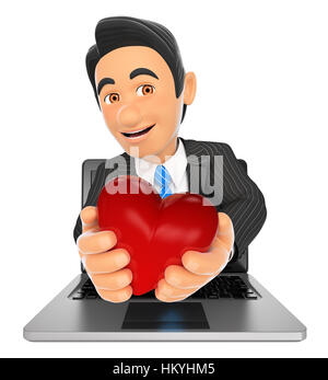 3d business people illustration. Businessman coming out a laptop screen with a red heart. Isolated white background. - Stock Photo