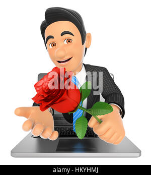 3d business people illustration. Businessman coming out a laptop screen with a red rose. Isolated white background. - Stock Photo