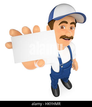 3d working people illustration. Mechanic showing a blank card. Isolated white background. - Stock Photo