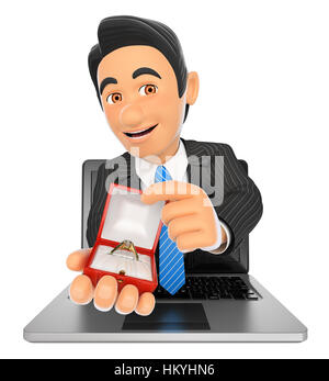 3d business people illustration. Businessman coming out a laptop screen with an engagement ring . Isolated white - Stock Photo