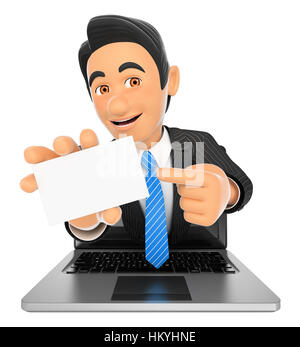 3d business people illustration. Businessman coming out a laptop screen with a blank card. Isolated white background. - Stock Photo