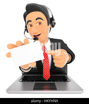 3d working people illustration. Call center employee coming out a laptop screen with a blank card. Isolated white - Stock Photo