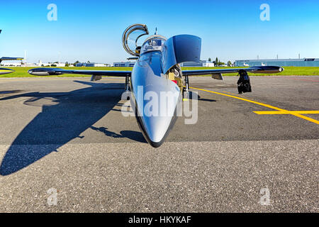 PRAGUE - SEPTEMBER 6: Aero L-39 Albatros from Breitling Jet Team on parking in Prague Airport on September 6, 2013. - Stock Photo