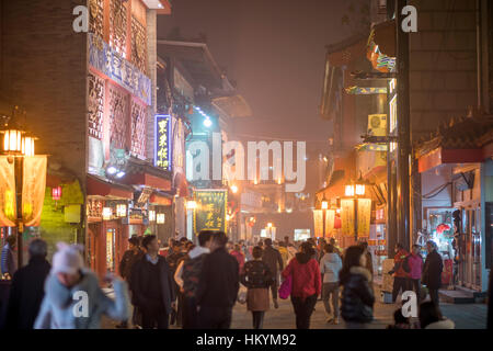 Evening at the  Qianmen Street pedestrian area, Beijing, People's Republic of China, Asia - Stock Photo