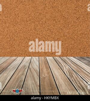 Cork board and wood floor. Vector illustration - Stock Photo