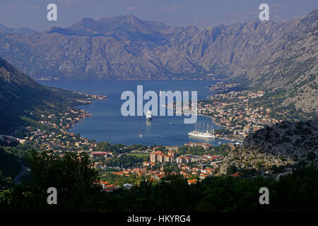 Bay of Kotor harbour with cruise ships in port - Stock Photo
