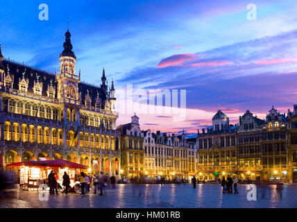 Grand Place in Brussels at night - Stock Photo