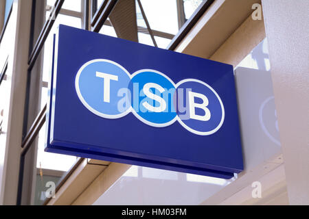 TSB bank sign on wall outside branch - Stock Photo