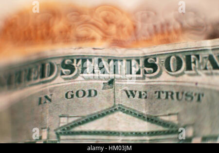 The design on the reverse of a twenty dollar bill, featuring the official motto of the United States 'In God We - Stock Photo