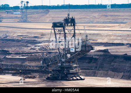 GARZWEILER, GERMANY - SEPTEMBER 01, 2016: Huge Excavator mines in an opencast mining field - Stock Photo