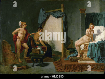 Jacques-Louis David - Apelles Painting Campaspe in the Presence of Alexander the Great - Stock Photo