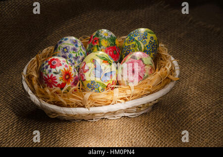 Decoupage Easter eggs, handmade - Stock Photo