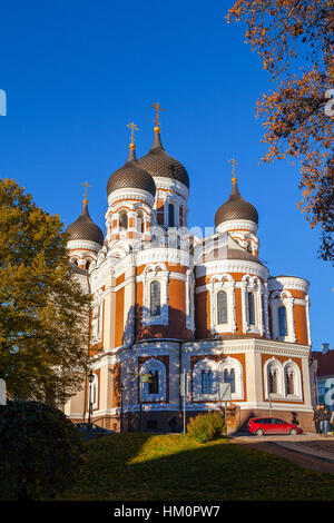 Alexander Nevsky Cathedral at sunny summer day, an orthodox cathedral in the Tallinn Old Town, Estonia. - Stock Photo