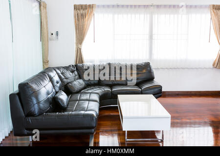 Black sofa in room - Stock Photo