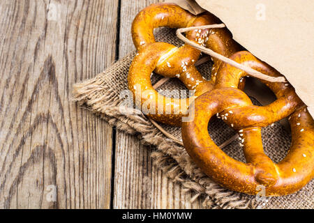 Pretzels  with salt: traditional snack for beer - Stock Photo
