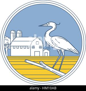 Illustration of a great blue heron perched on a branch viewed from the side set inside circle with barn farm silo - Stock Photo