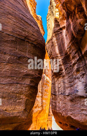 Outer Siq Yellow Canyon Morning Hiking To Entrance Into Petra Jordan Petra Jordan.  Colorful Yellow Pink Canyon - Stock Photo