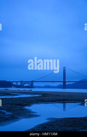 Golden Gate Bridge reflected in pond (in Crissy Field) and fog, San Francisco, California USA - Stock Photo