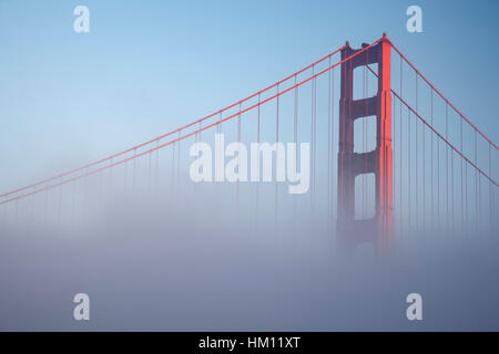Golden Gate Bridge and fog, San Francisco, California USA - Stock Photo