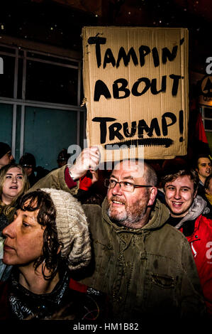 Cardiff, UK. 30th January, 2017. Protestors take to the streets in Cardiff, Wales to show opposition to American - Stock Photo