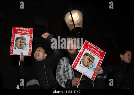 London, UK. 30th Jan, 2017. Protesters during a demonstration outside Downing Street, in opposition to Donald Trump's - Stock Photo