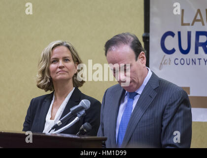 Uniondale, USA. 30th Jan, 2017. At left, Nassau County Legislator Laura Curran, 48, candidate for Nassau County - Stock Photo