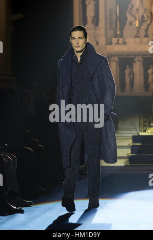 New York City, USA. 30th Jan, 2017. Model walks the runway for Joseph Abboud collection during New York Mens Fashion - Stock Photo