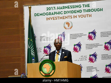 Addis Ababa, Ethiopia. 30th Jan, 2017. Newly-elected rotating chairman of the African Union (AU) Alpha Conde, also - Stock Photo