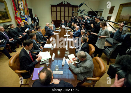 Washington, DC. 31st Jan, 2017. United States President Donald Trump holds a listening session with cyber security - Stock Photo
