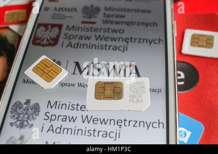 Gdansk, Poland. 01st Feb, 2017. Different types of Polish SIM cards are seen on 1 February 2017 in Gdynia, Poland. - Stock Photo