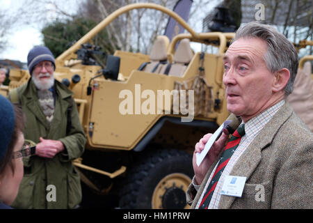 Hereford, UK. 1st February 2017. A retired military officer and Expo delegate talks with the protesters outside - Stock Photo