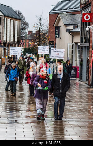 Hereford, Herefordshire, UK. 1st February 2017. Protestors take to the streets in Hereford to express their concern - Stock Photo