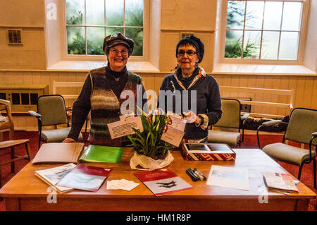 Hereford, Herefordshire, UK. 1st February 2017. Murri Smith (l) and Kim Holroyd (r) pose with Peace Lillys which - Stock Photo