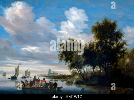 River Landscape with Ferry, by Salomon van Ruysdael, 1649, oil on panel, Rijksmuseum, Amsterdam, Netherlands, Europe, - Stock Photo