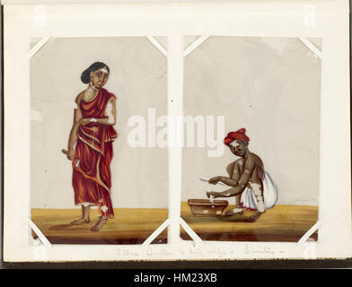 Indian - Leaf from Bound Collection of 20 Miniatures Depicting Village Life - Walters 35176D - Stock Photo
