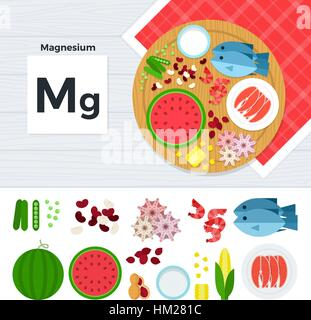 Products with vitamin Mg - Stock Photo