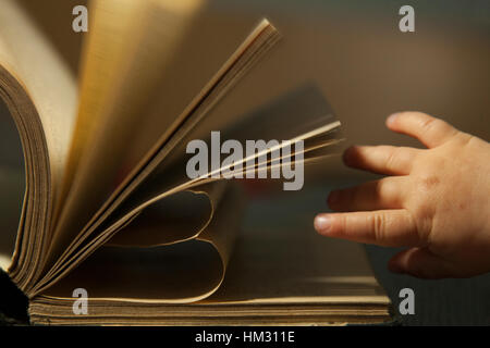 Baby´s hand reaching out for book. Pages of the book are in shape of heart - Stock Photo