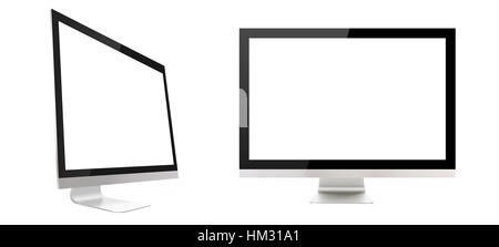 Computer display isolated on white background - Stock Photo