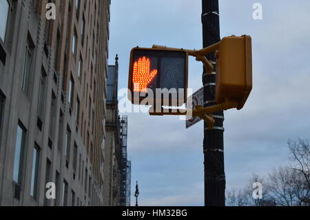 Pedestrian traffic signals central park west NYC - Stock Photo