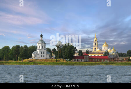 Monastery Stolobny Island and Temple of the Holy Cross on Lake Seliger. Tver region. Russia - Stock Photo